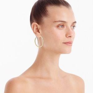 JCrew Two Tone Pave Hoop Earrings in Crystal